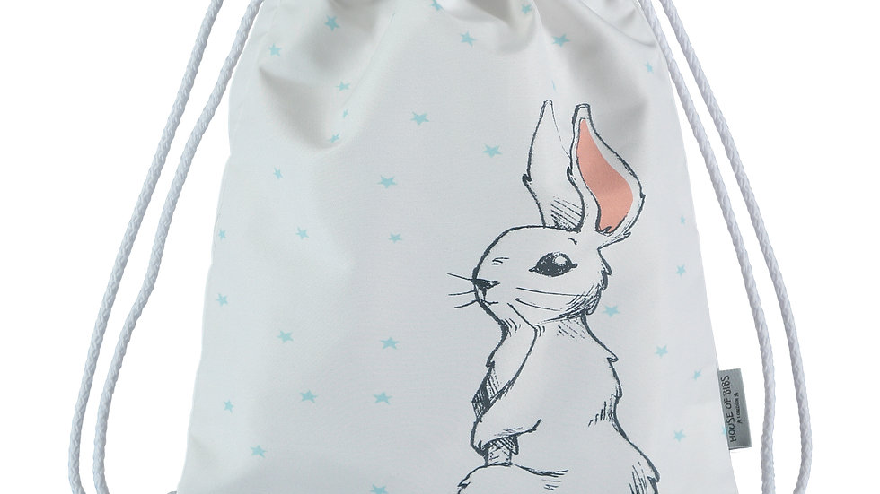 Bunny & Turquoise StarsToddler Drawstring Backpack
