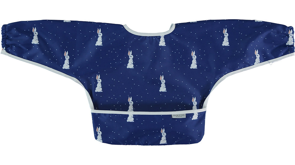 Night Sky Bunny Toddler Bib with Sleeves