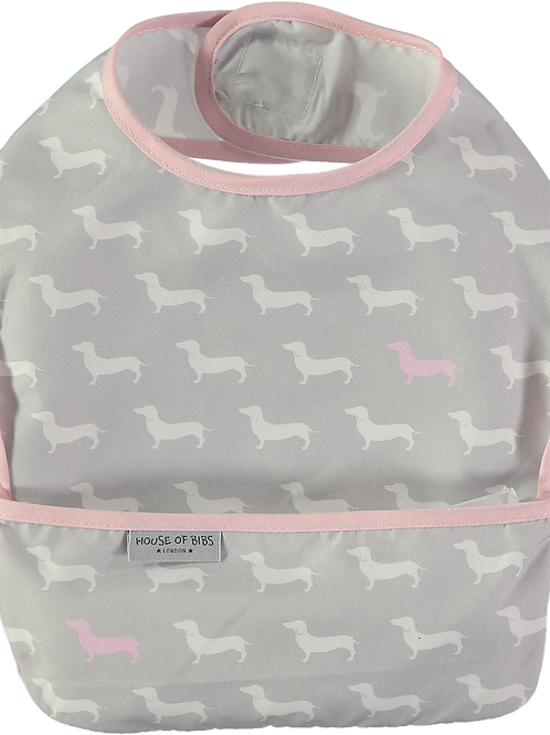 Babero Impermeable Dachshund rosa y blancos fondo grisobre Gris