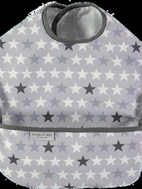 Black & Grey Stars Toddler Bib