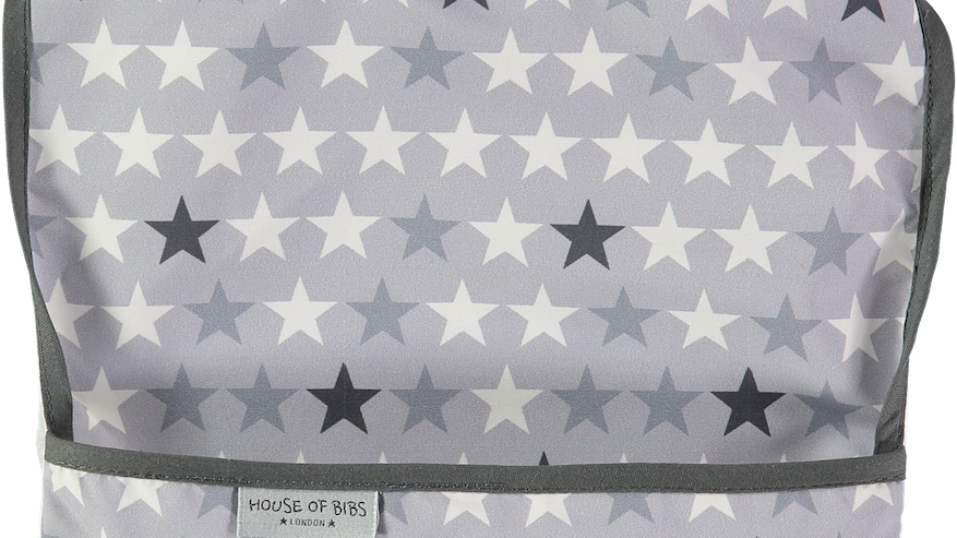 Black & Grey Stars Toddler Bib