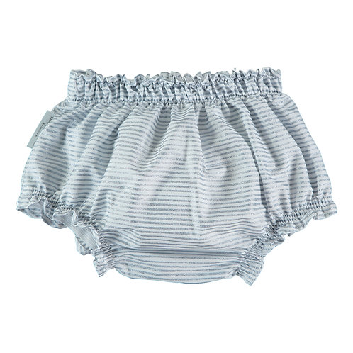 Glitter Blue Stripes Baby Bloomers