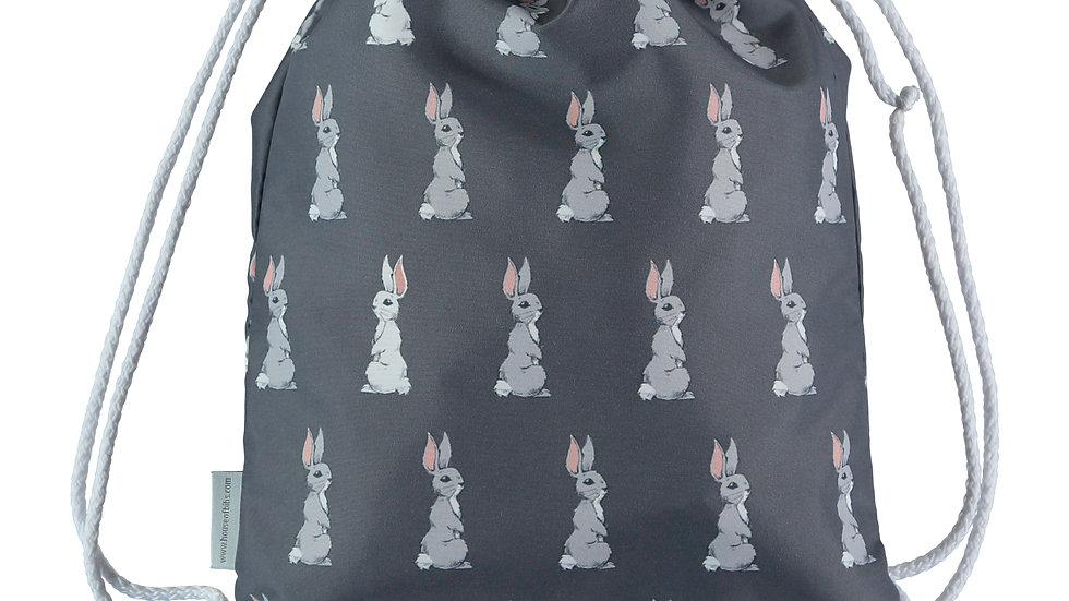 Grey & White Bunnies Toddler Drawstring Backpack