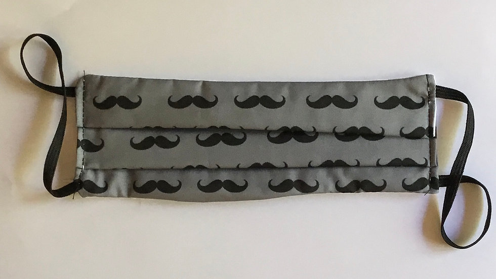 Moustache Grey Print Face Mask