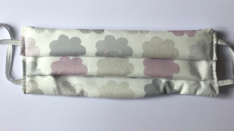 Mauve & Grey Clouds on white Face Mask