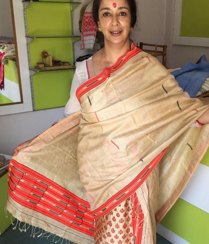 National dress Assam melakha-chaddor in muga silk