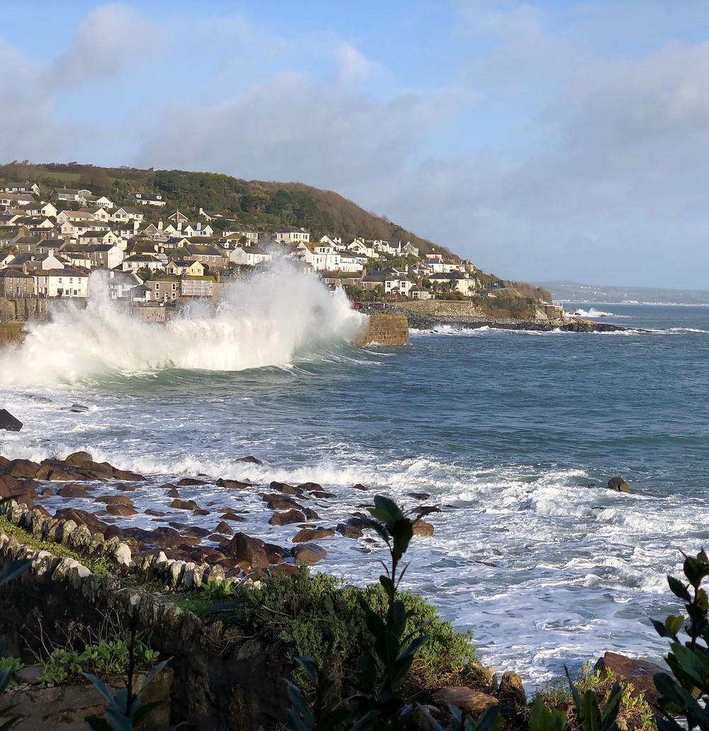 Sea and spray and clifftop scrub