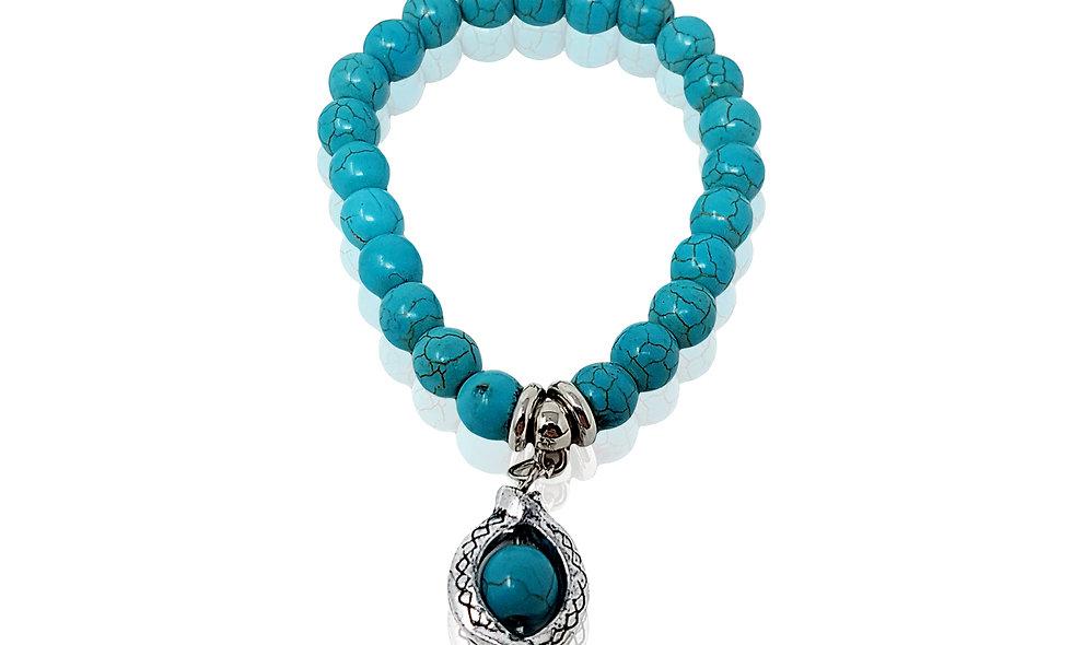 Bohemian Turquoise Bracelet with Shaped Fish Pendant