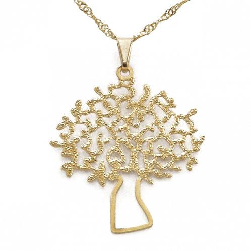 Gargantilha Árvore Vida (Banhada Rodio e Ouro)