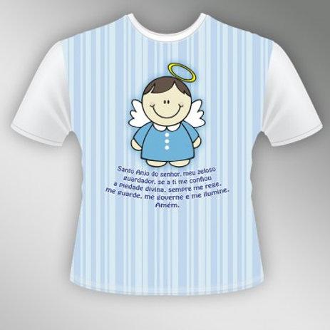 Camiseta Infantil Anjinho nº 8 (Azul e Rosa)