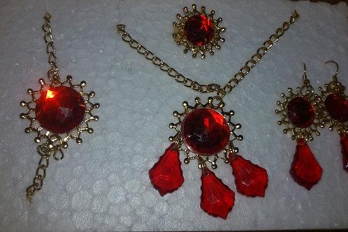 Conjunto Pombogira com Pedras Vermelhas