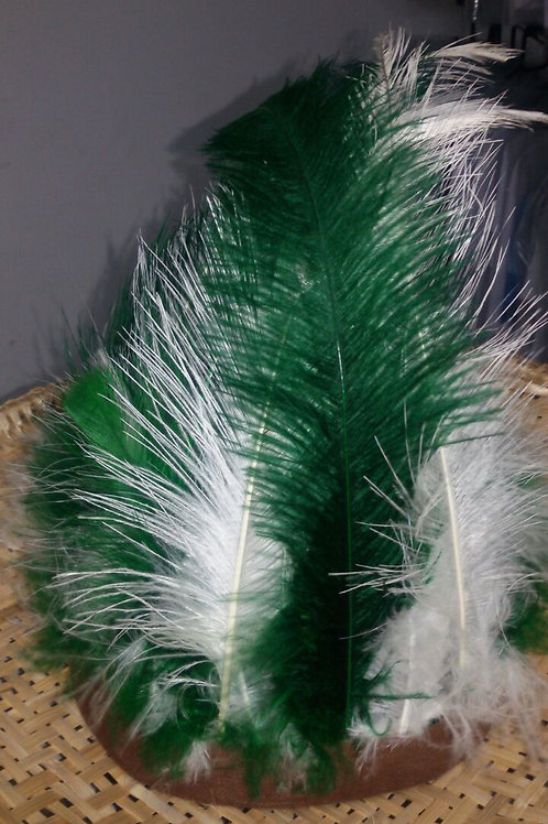 Cocar 7 Penas - Verde e Branco