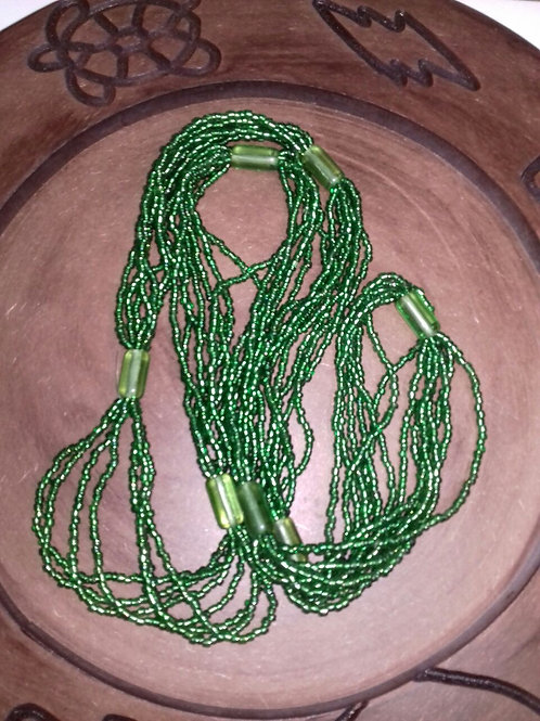 Braja de Miçangão Cristal Verde - 7 fios - 7 Firmas