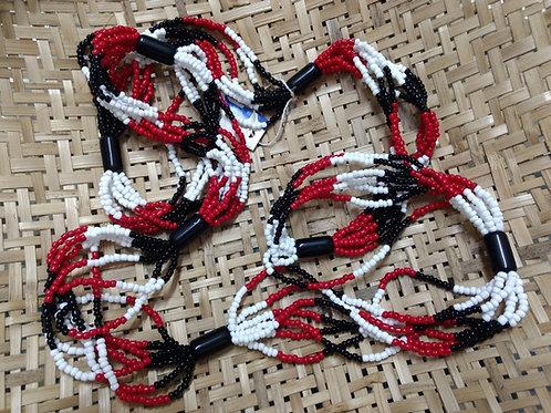Braja - Guia de Miçangão em Porcelana - 7 fios - Vermelho/Preto/Branco