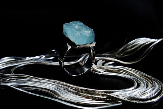 Aquamarine raw stone ring