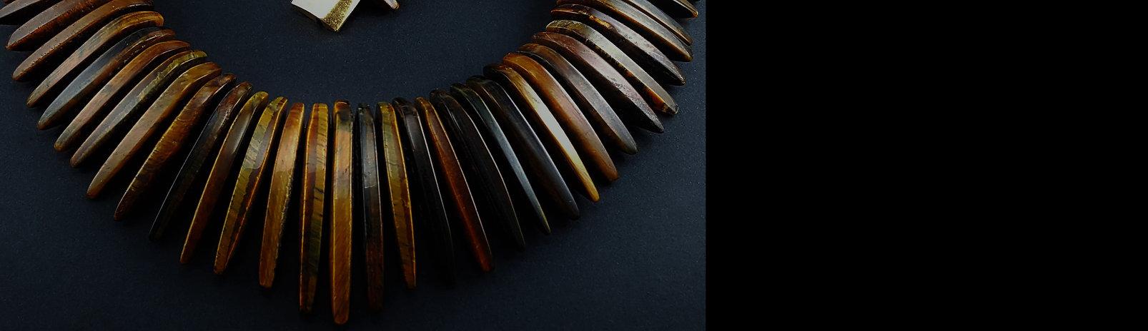Collier Damen, Edelstein Collier, Tigerauge grosse Halskette, hangemacht. echte Steine, Gemory Design Erlangen