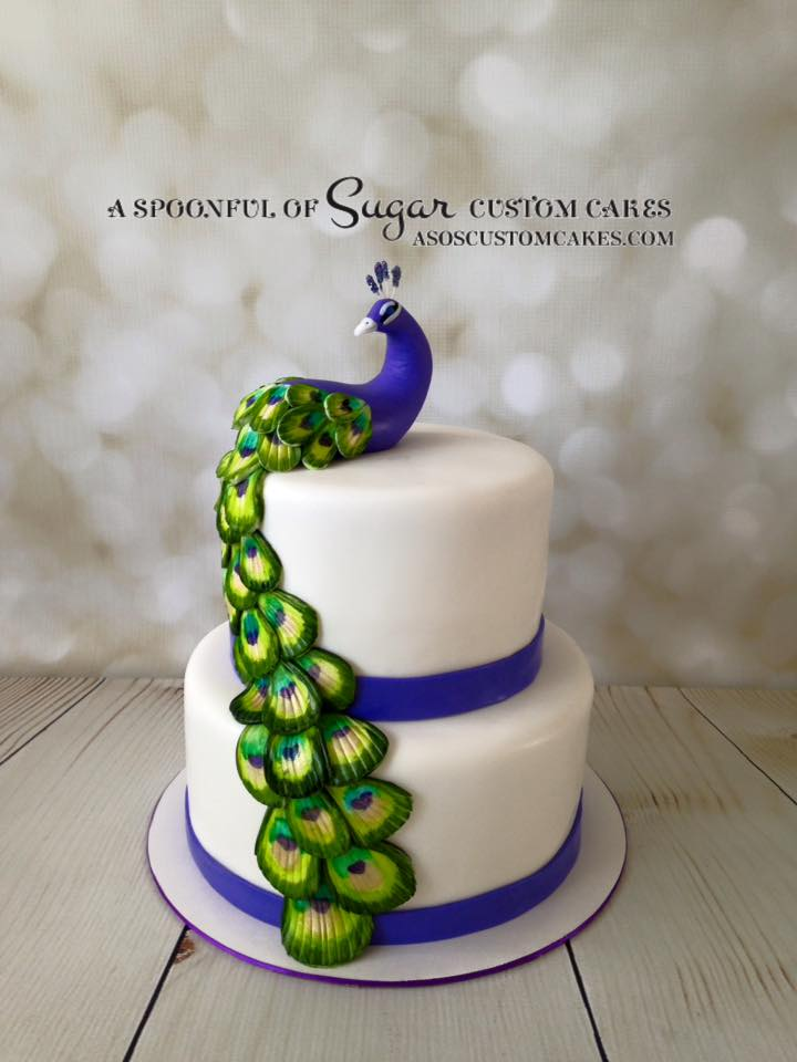 Hand sculpted Peacock wedding cake