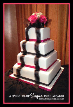 Modern pink & black cake