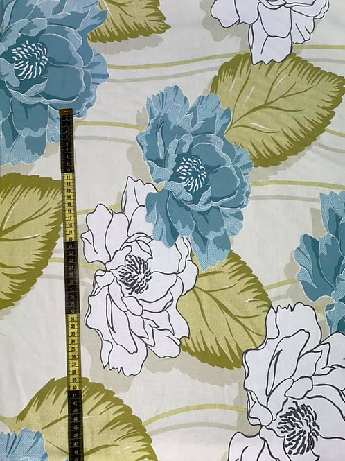 Blue/Green Floral Curtain/Upholstery Fabric