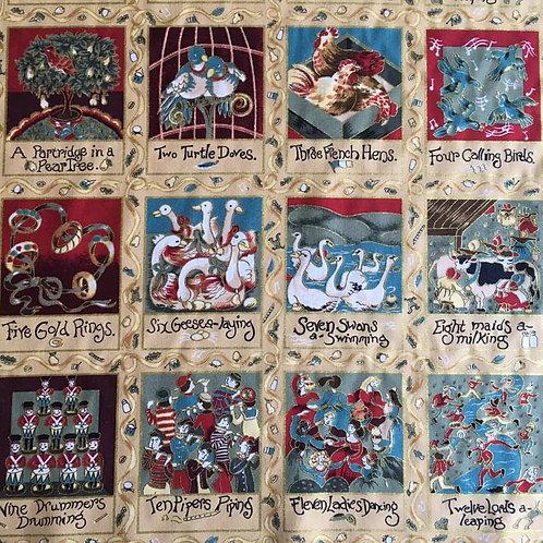 12 Days of Christmas Fabric Panel
