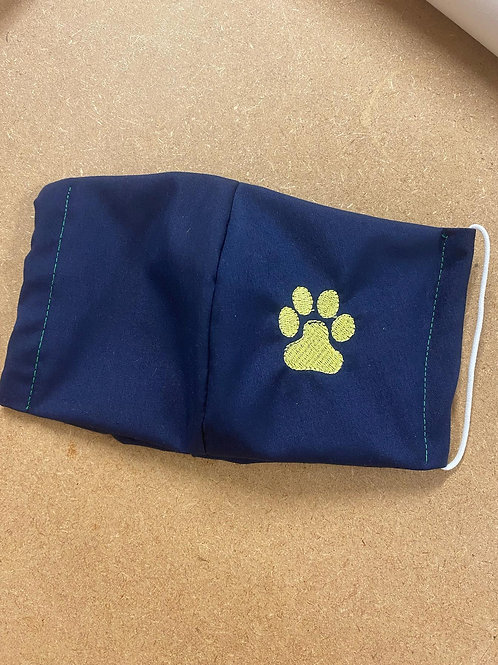 Embroidered Paw Print Face Mask