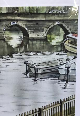 Clopton bridge and motor boats. Stratford Upon Avon