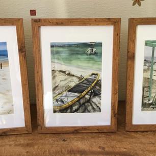 Set of 3 Beach scene A5 prints in A4 wood effect frames £60