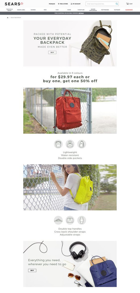 Landing page for Adults Backpack