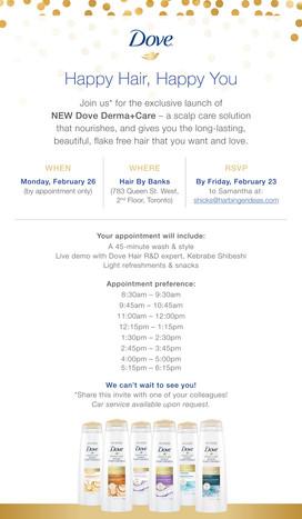 Dove Derma+Care event e-vite