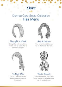 Dove Derma+Care event: Hair menu