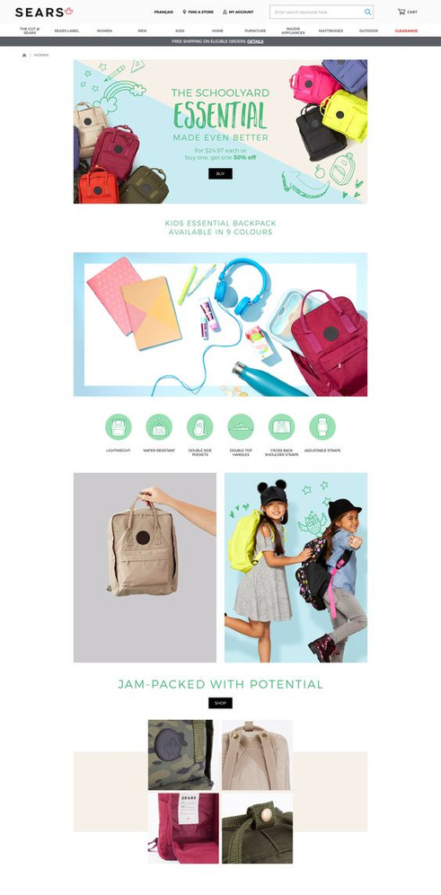 Landing page for Kids Backpack
