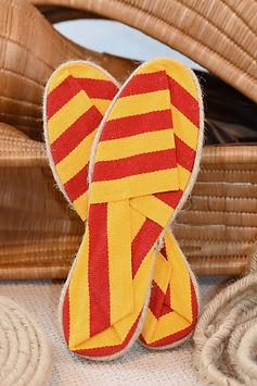 espadrille provence, jaune et rouge, la maison de l'espadrille