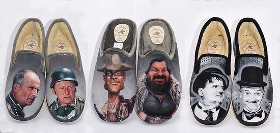 chaussons, pantoufles, Laurel et Hardy, stars, chaussons rigolos