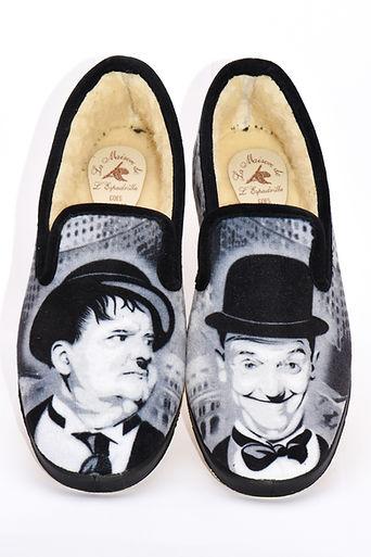 Chaussons Laurel et Hardy, chatrentaises, pantoufles, chaussons rigolos