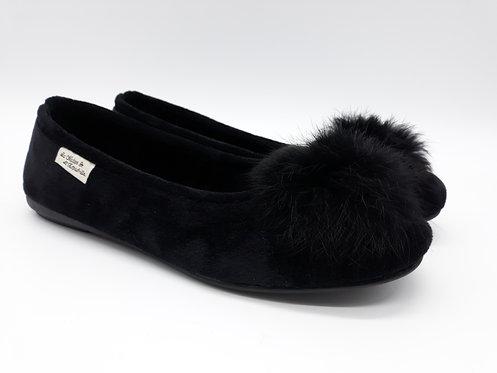 Chaussons ballerines femme - KATE (noir)