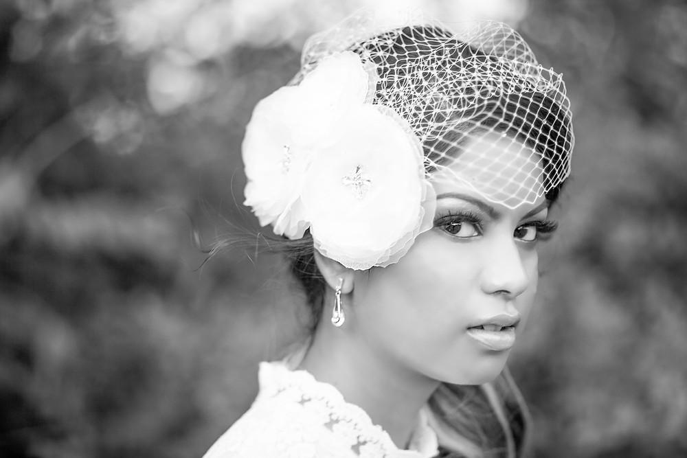 Bridal Headpiece - Flower Bird Cage Veil