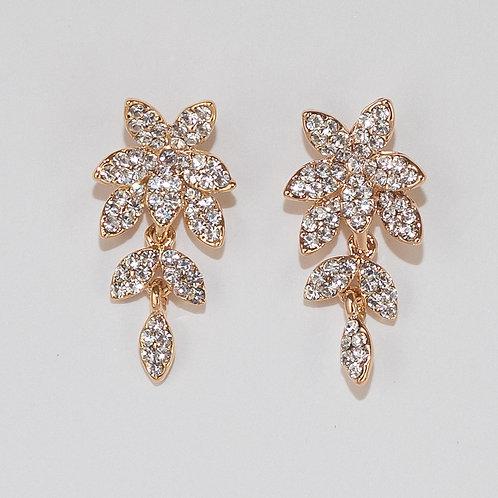 Gold/Crystal Flower Earring