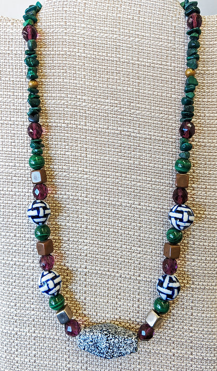 Necklace of Delft, Malachite and Italian Glass Beads