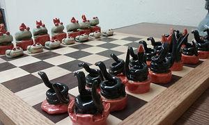 BS, #C19, Chess Set, Ceramic, includes b
