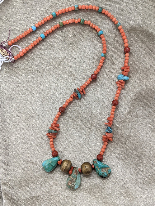 Necklace of turquoise, coral, red jasper