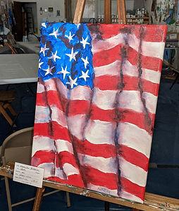 019-P-52, Small American Flag, oil, $175, crp.jpg