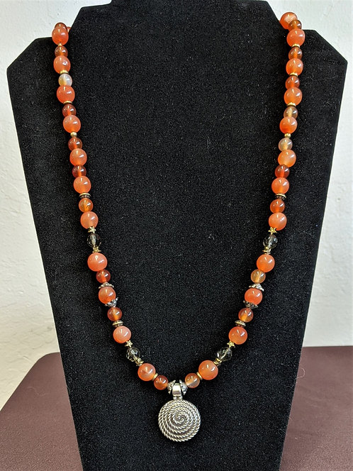 """Necklace """"Freya,"""" made of Carnelian Beads and Silver Symbol"""