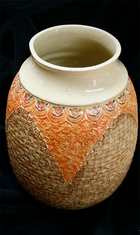 Large Basket Vase with Roses, 003-C-41A