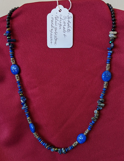 Sodalite scarab and chips, blue goldstone necklace