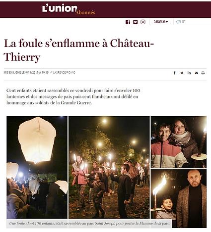 Les flames de la paix Saint Joseph Chateau Thierry
