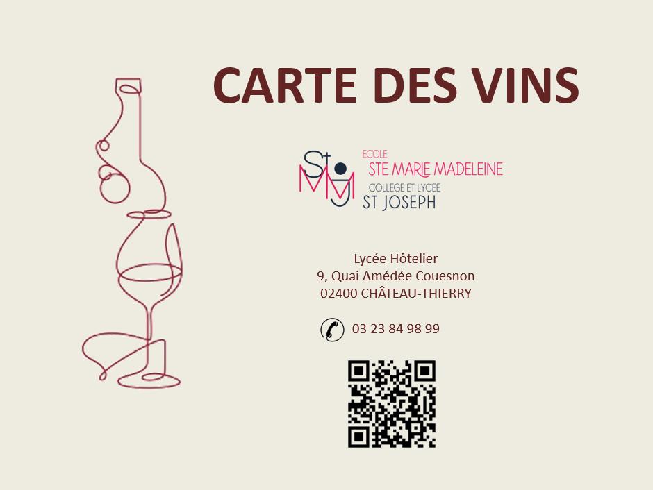 Carte des vins lycée hôtelier Saint Joseph Château-Thierry