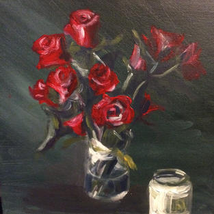 Roses with candle