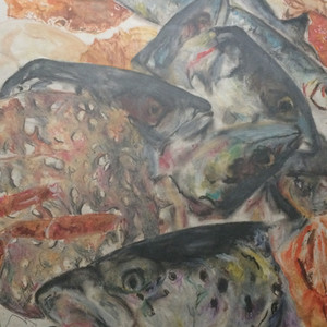 Still life fish heads and crabs