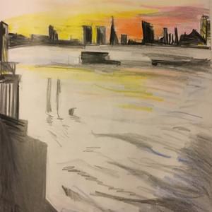 River Thames sketch pencil