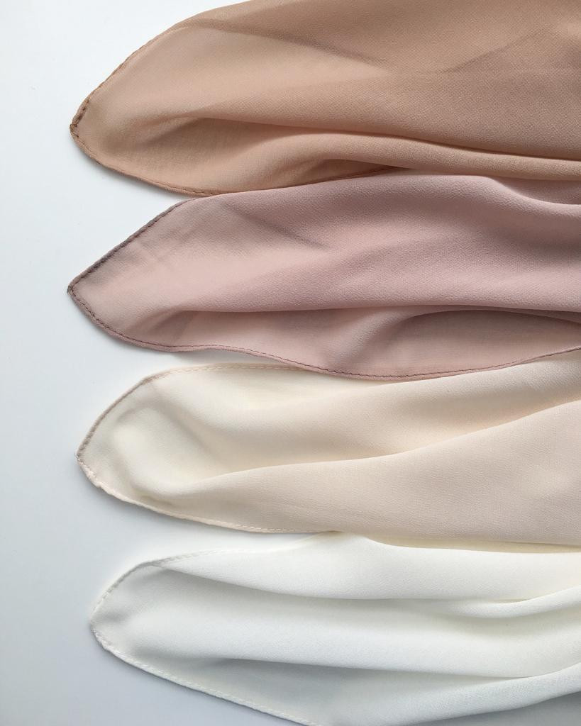Chiffon scarves in pastel colors